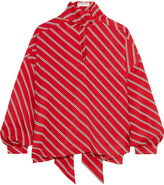 Balenciaga Pussy-bow Striped Crepe De Chine Blouse - Tomato red