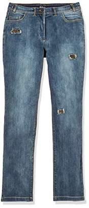 Ulla Popken Women's Jeanshose mit Glitzerdetail, Mona Straight Jeans,37 W/32 L
