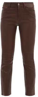 Frame Crop Mini Boot Flared Slim-leg Leather Jeans - Burgundy