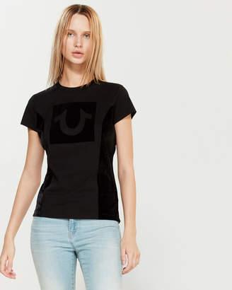 True Religion Short Sleeve Flocked Velour Logo Tee