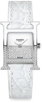 Hermes Heure H 21MM Diamond, Stainless Steel & Alligator Strap Watch