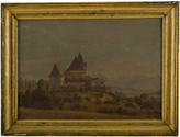 Rejuvenation Early 19th Century Oil Painting of German Manor c1825