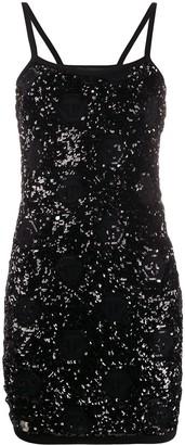 Philipp Plein Sequin Embroidered Cocktail Dress