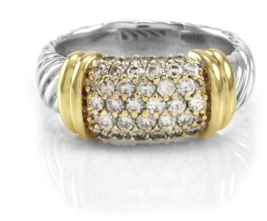 David Yurman 925 Sterling Silver & 18K Yellow Gold Metro Pavé Diamond Ring Size 5