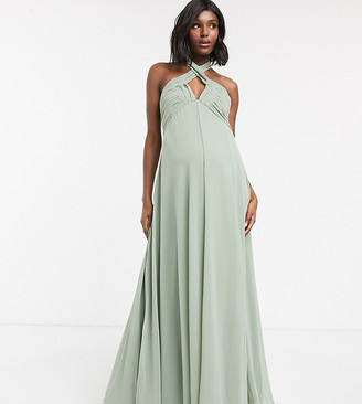 ASOS DESIGN Maternity halterneck pleat skirt ruched bodice maxi dress