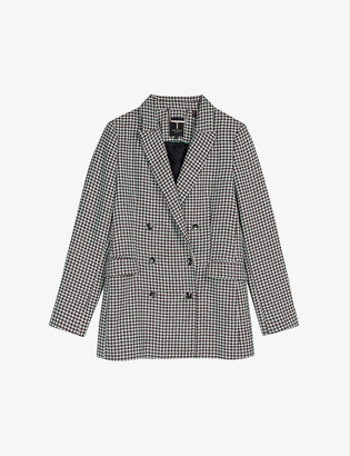 Ted Baker Beechi houndstooth-pattern double-breasted woven blazer