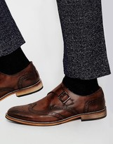 Asos Brogue Monk Shoes in Brown Leather