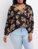 Charlotte Russe Plus Size Floral Crochet-Trim Blouse