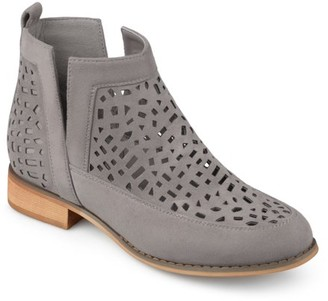 Brinley Co. Women's Faux Suede Geometric Laser Cut Side Split Stacked Wood Heel Booties