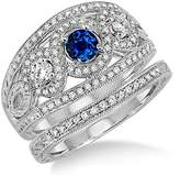 JeenJewels 2 Carat Sapphire and Diamond Trilogy set Ring on 10k White Gold