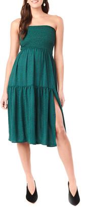 Loyal Hana Maternity Jessie Leopard-Print Layered Skirt/Dress with Smocking