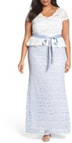 Adrianna Papell Plus Size Women's Two-Tone Lace Peplum Gown