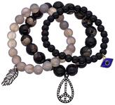 Blu Bijoux Set of Three Black and Grey Beaded Stretch Charm Bracelets
