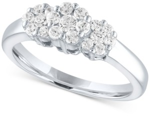 Forever Grown Diamonds Lab-Created Diamond Triple Cluster Statement Ring (1/2 ct. t.w.) in Sterling Silver