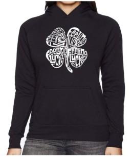 LA Pop Art Women's Word Art Hooded Sweatshirt -Feeling Lucky