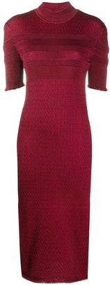 Fendi Silk-Elastane Mix Patten Knit Dress
