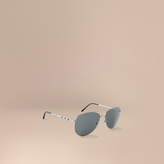 Burberry Check Arm Aviator Sunglasses