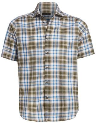 Saks Fifth Avenue COLLECTION Cotton & Linen Plaid Shirt