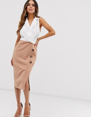 Asos Design DESIGN sleeveless contrast pencil midi dress with side buttons