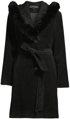 Sofia Cashmere Fox Fur Trim Coat