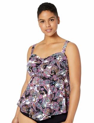 Fit 4 U Women's Plus Size V Front Bandeau Swim Top
