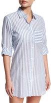 Tommy Bahama Ticking Stripe Boyfriend Beach Shirt, White