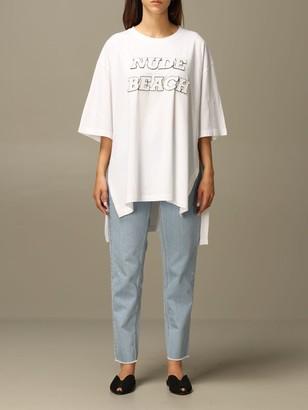 N°21 N 21 T-shirt N ° 21 Over T-shirt With Big Nude Beach Writing