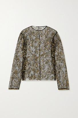 Dries Van Noten Sequin-embellished Tulle Blouse - Black