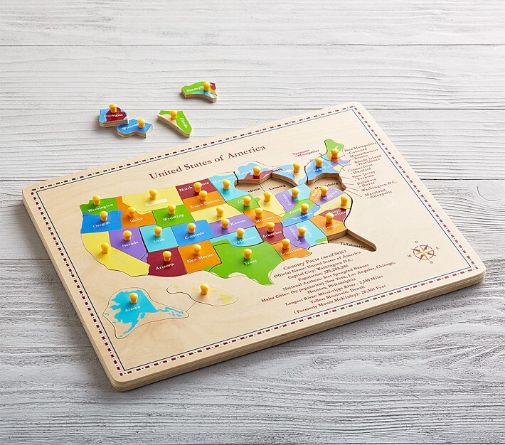 Thumbnail for your product : Pottery Barn Kids USA Map Puzzle