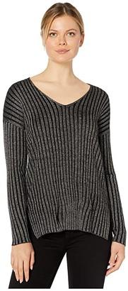 Vince Camuto Long Sleeve Rib Stripe Lurex V-Neck Sweater