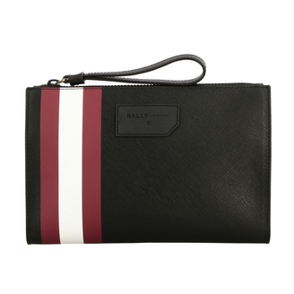 Bally Briefcase Skid.of Clutch Bag In Saffiano Leather With Striped Band