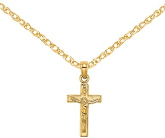 14K Yellow Gold Small Crucifix Block Cross Charm with 18-inch Cable Rope Chain by Versil