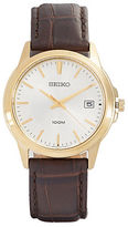 Seiko Croc-Embossed Leather Strap Watch