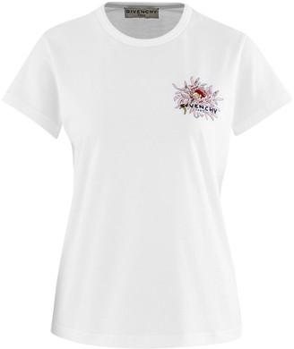 Givenchy Floral Logo Cap Sleeve T-shirt