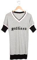 John Galliano Girls' Short Sleeve Embroidered Shirtdress