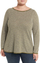 Eileen Fisher Linen-Blend Stripe-Print Slub Top, Olive, Plus Size
