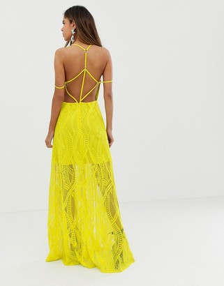 Asos Design DESIGN maxi dress in lace cutwork with strappy back and metal ring detail