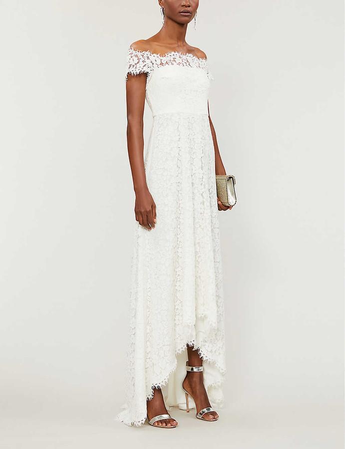 Whistles Rose off-the-shoulder floral-lace wedding dress