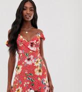 Parisian Tall wrap front mini dress in polka dot and tropical print