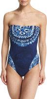 LaBlanca La Blanca Moody Blues Bandeau Printed One-Piece Swimsuit