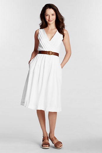Lands' End Women's Regular Linen Pleated V-neck Dress
