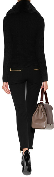 Michael Kors Stretch Cotton Pants with Zip Detailing