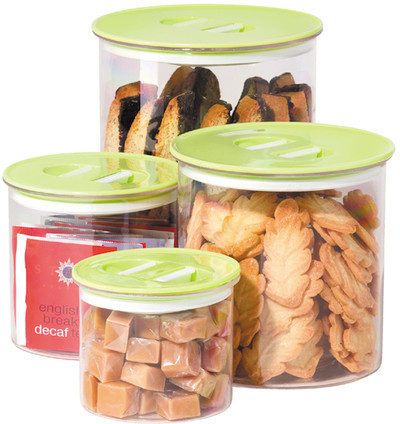 Oggi Stack N Store Canister Green 4Pc