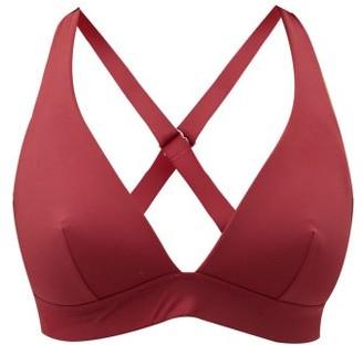 The Fold D+ Swim - The Tri Crossover-back D-g Bikini Top - Burgundy