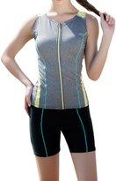 Viottis Women's Zip Front Rash Vest Sleeveless Rashguard Top+Bottom M