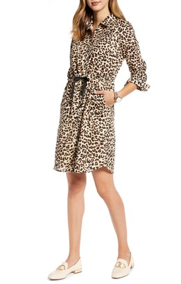 1901 Leopard Cinched Waist Long Sleeve Shirtdress