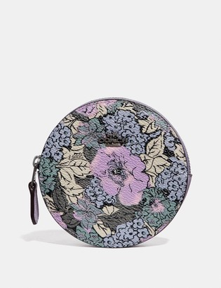 Coach Round Coin Case With Heritage Floral Print