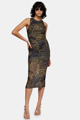 Topshop Womens Idol Scenic Mesh Printed Midi Dress - Navy Blue