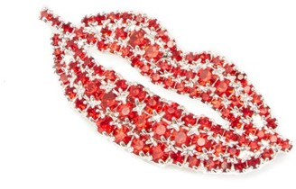 Art School Lips Crystal-embellished Brooch - Red