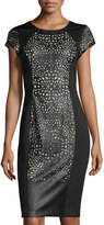 Susana Monaco Short-Sleeve Cutout Scuba/Faux-Leather Dress, Black
